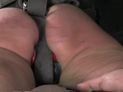 Red assed tied up sub spanked hard