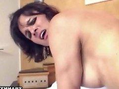 Foxy shemale babe Gabriela getting fucked