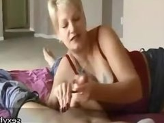 short haired blonde milf handjob while rubbin