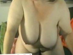 Old mature woman has fun on webcam skype