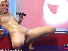 Brook Logan covers herself in oil