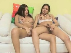 Two hot shemale babes sharing a studs hard co