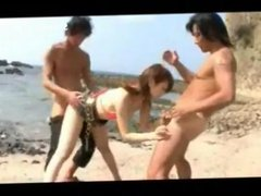 Tight asian double creampied on the beach -