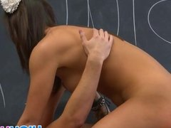 Horny teacher fucked brunette teen