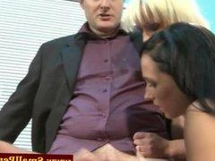 Femdom group tug his tiny cock