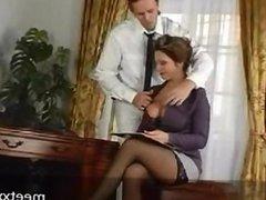 milf secretary fucks young stud