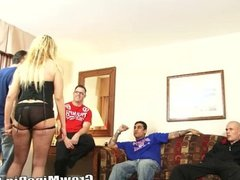 Big Tits Blonde Fucked On A Group O