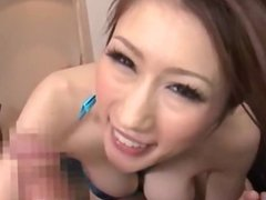 Japanese with big hooters toying with guys di
