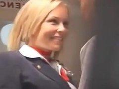Stewardess and Japanese guys fuck on plane