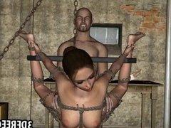 Tied up 3D brunette gets fucked