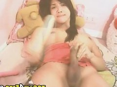 Cute Tranny Playing her Cock