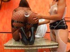 mayara shelson fishnet FFM hard anal fuck