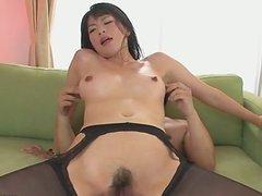 Hottie Saki Aoyama asian girl giving blowjob