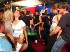 Hot party chicks suck dicks in club orgy