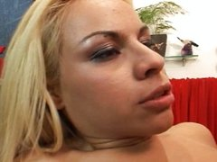 Blond Latina in boots nailed