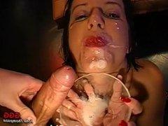 Dirty Brunette Bukkake slut collects semen