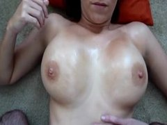 Filming wifes oiled boobs