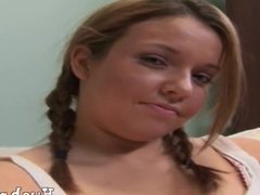 Pigtailed Teen Riley Gets A Lesson in Big Coc