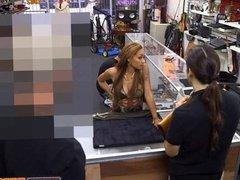 Latina fucks the pawnshop guy