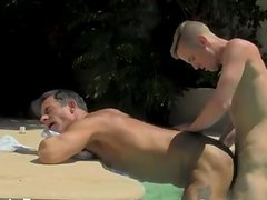 Gay guys Daddy Poolside Prick