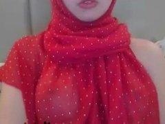 Maturbating with red Hijab