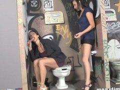 MILF and Teen Suck Dick Through Glory-Hole