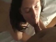 Brunette chick sucks and wants to fuck in dog