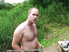 Guys fuck topless blonde outdoors