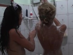 Babes are playing after shower