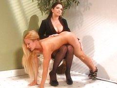 Femdom secretary blonde spanking fetish