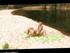Blonde lesbians on the hot sand
