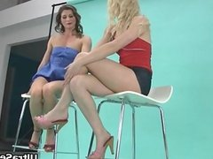 Sexy blonde and brunette sluts get horny
