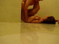 Hot Teen Fucks On The Floor In The Bathroom