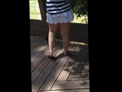 Mini Skirt too short at the zoo in public
