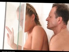 Passionate couple get sensual in the shower