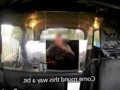 Busty ebony banged in fake taxi in public