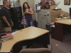 Cuban chick goes wild in pawn shop