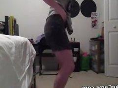 Geeky Girl Doing A Striptease