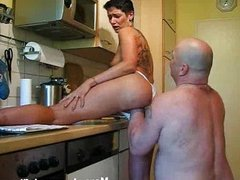 Fisting my wifes huge pussy in the kitchen