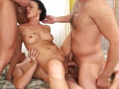 Brunette Mature 52 years fucked by 3 guys