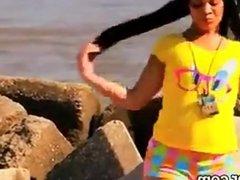 Cam Girl Dancing At The Beach