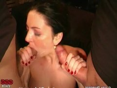 Sexy brunette whore is used as a cum bucket