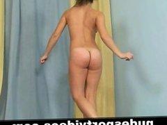 Naked amateur babe doing sports