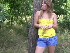 Small titted teen Bella masturbates outdoors