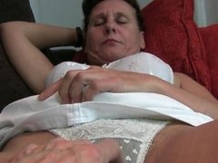 Granny with hairy pussy and armpits gets off