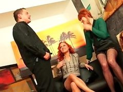 Horny redhead lesbian wanks her pussy