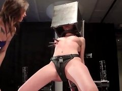 Lezdom dom restrains submissive with head box