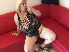 Mature BBW with huge tits masturbates