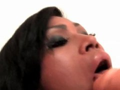 Hot shemale using a toy to pleasure