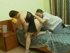 Russian MILF in bed with young dude